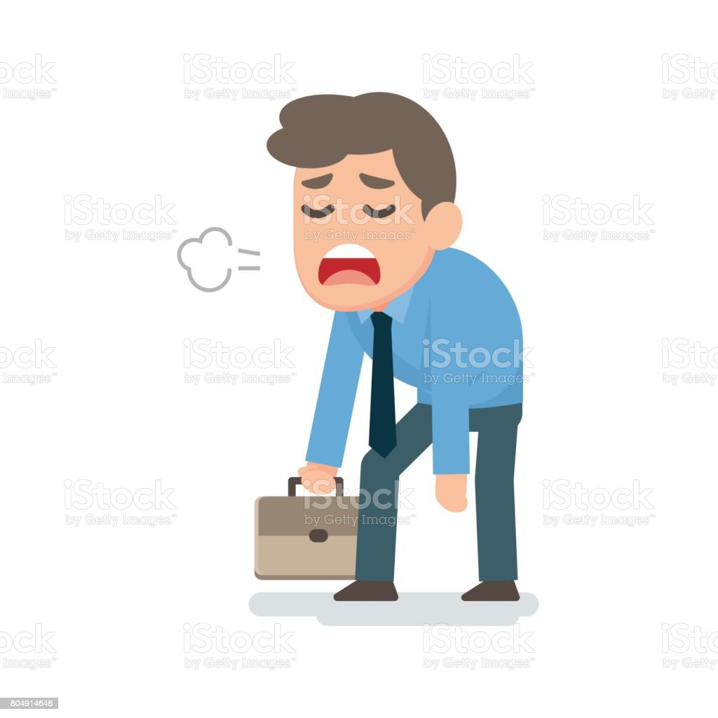 Businessman sad tired disappointed concept, vector flat illustration vector art illustration