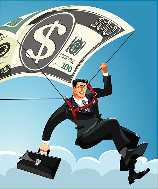 Businessman saved by a parachute A businessman saved by a one hundred dollar bill parachute. wall street stock illustrations