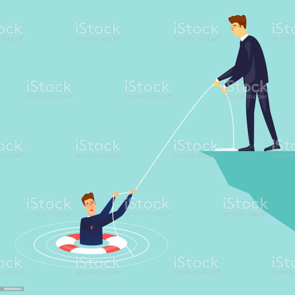 Geschäftsmann rettet den Ertrinkenden. Flaches Design-Vektor-Illustration. – Vektorgrafik
