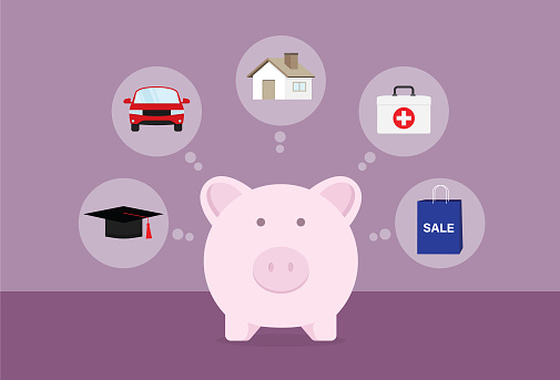 Businessman saving money for education, car, house, health, and shopping