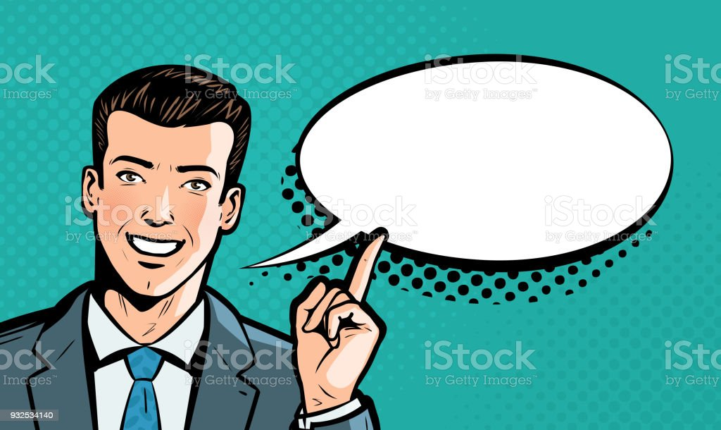 Businessman says. Business concept. Pop art retro comic style. Cartoon vector illustration royalty-free businessman says business concept pop art retro comic style cartoon vector illustration stock illustration - download image now
