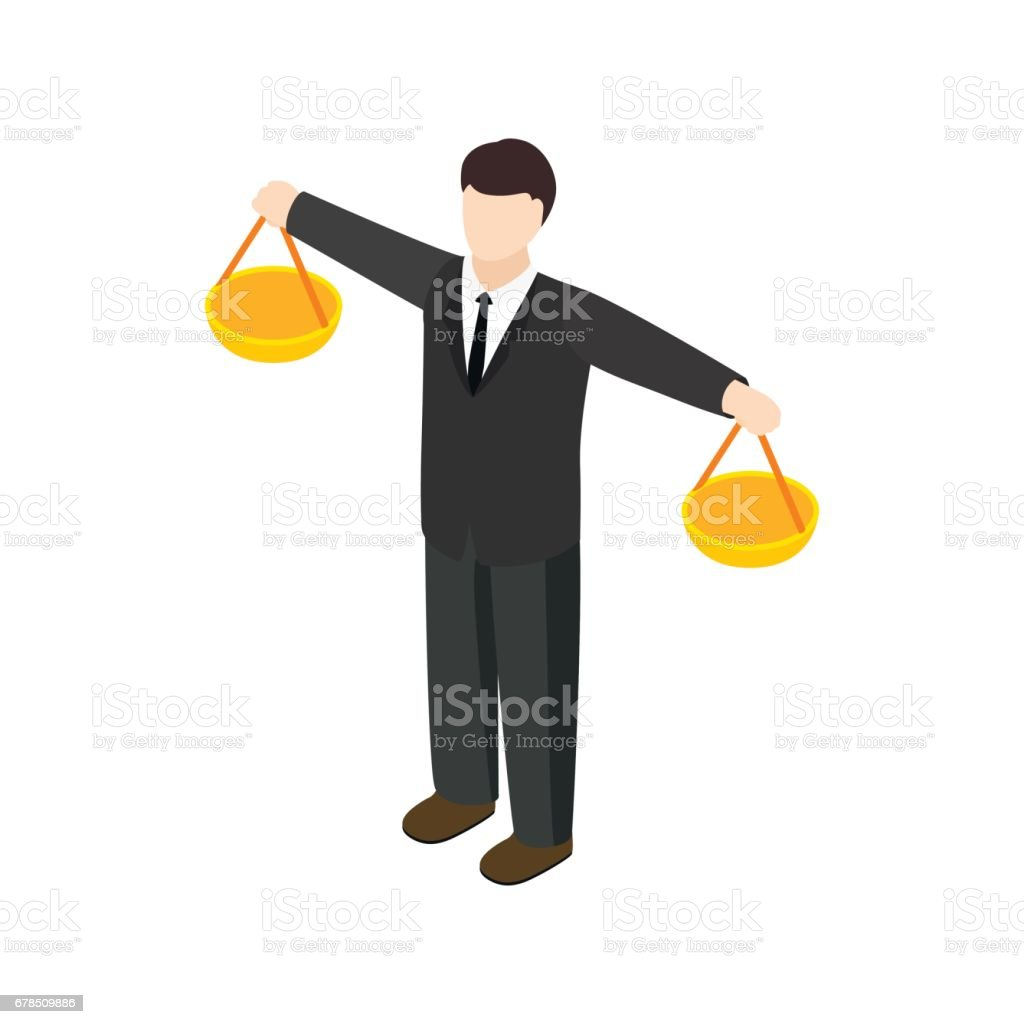 Businessman scale icon, isometric 3d style vector art illustration