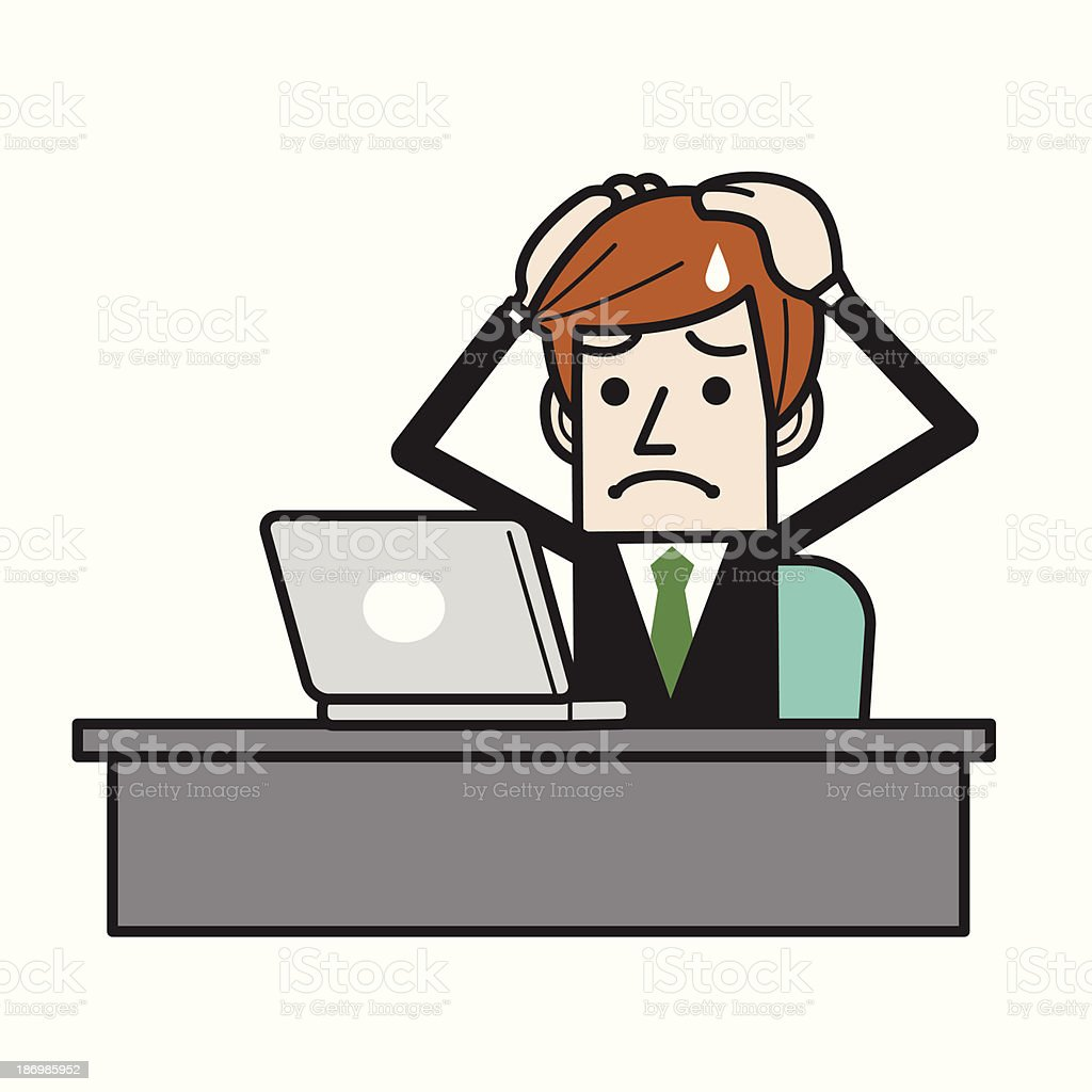 Businessman scared royalty-free stock vector art