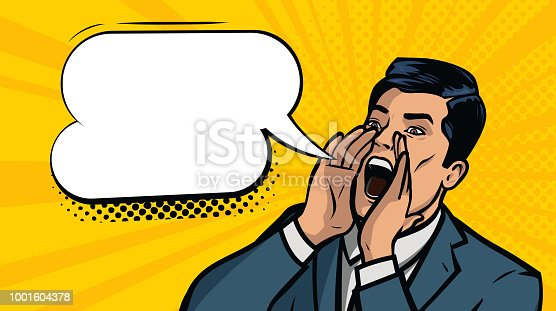 businessman screaming. business concept. cartoon vector illustration