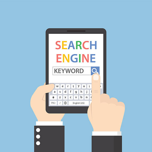 businessman searching for keyword on search engine - seo stock illustrations, clip art, cartoons, & icons