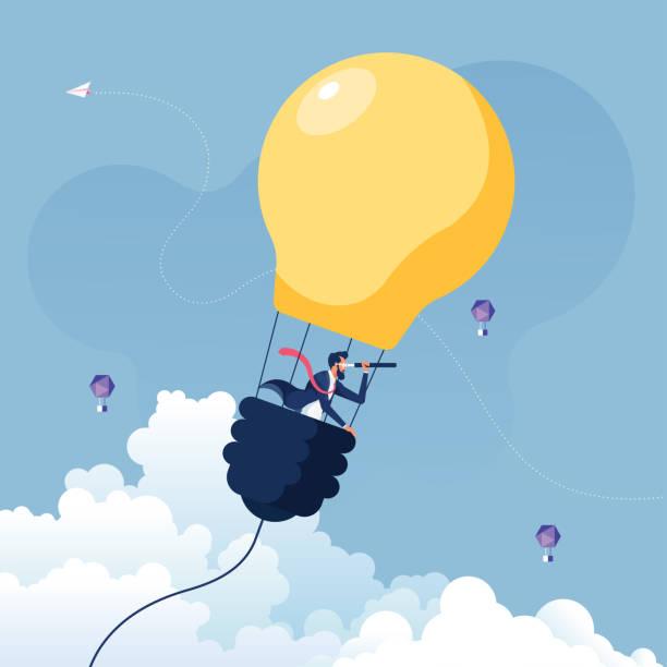 bildbanksillustrationer, clip art samt tecknat material och ikoner med affärsman söker efter möjligheter i luftballong glödlampa-business koncept vektor - idé