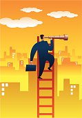 A vector image naif style representative of search of opportunities.