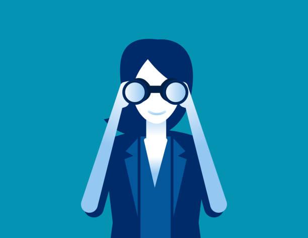 Businessman searching through binoculars. Concept business vector illustration, Flat business cartoon style, Looking. vector art illustration