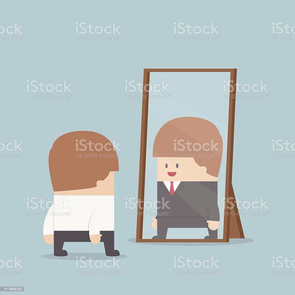 Businessman see his successful future in the mirror vector art illustration