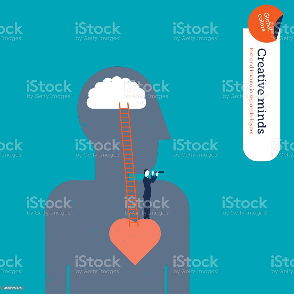 Businessman seeing something from an emotional perspective vector art illustration