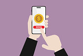 istock Businessman send US currency by mobile phone 1206648809