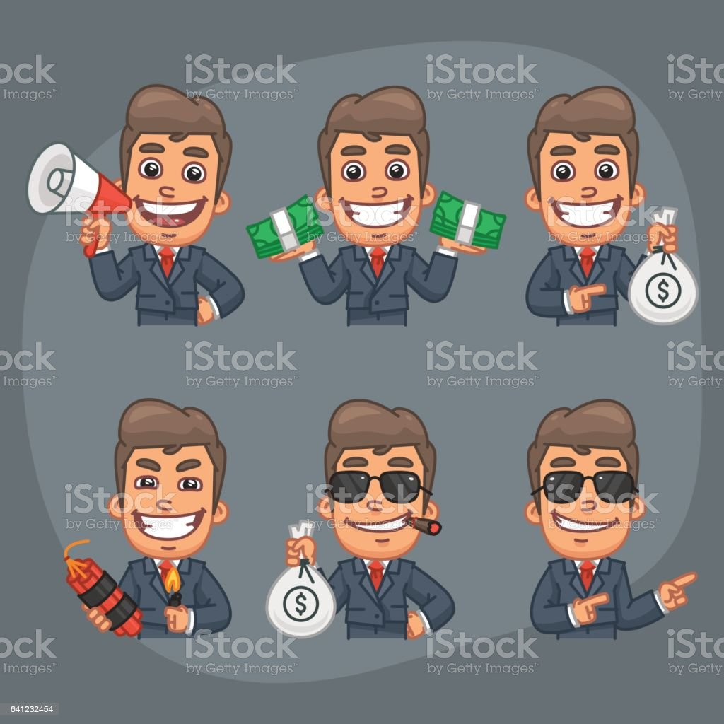 Businessman Set von 6 Poses Stickers Pack Teil 7 – Vektorgrafik