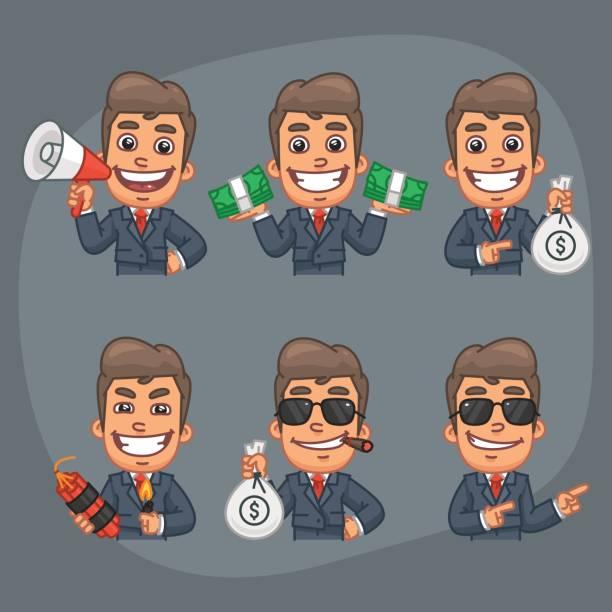businessman set of 6 poses stickers pack part 7 - jealous emoji stock illustrations, clip art, cartoons, & icons