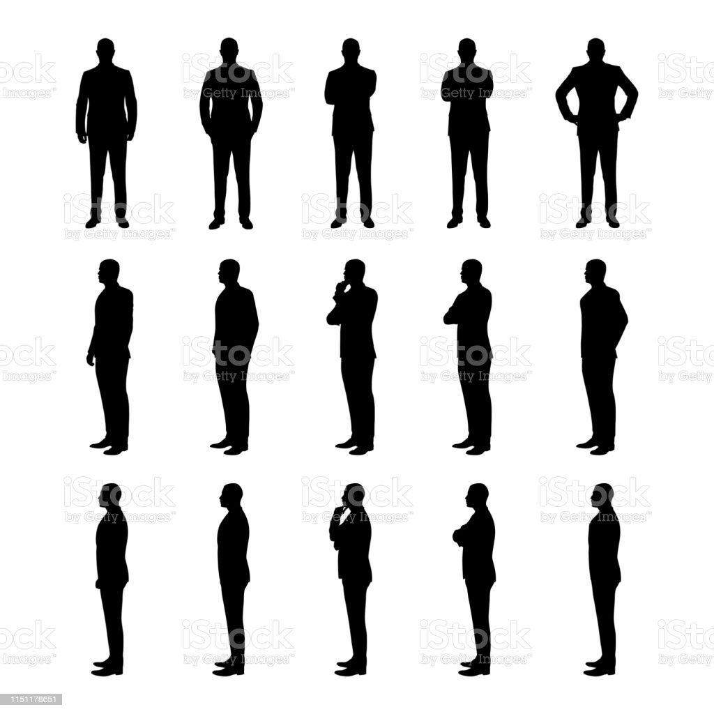 Businessman set of vector silhouettes. Man in suit in various poses from three different angles - Royalty-free Adulto arte vetorial