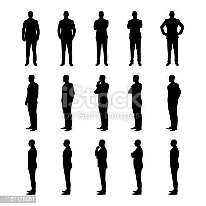 Businessman set of vector silhouettes. Man in suit in various poses from three different angles