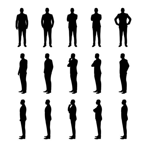 biznesmen zestaw wektorowych sylwetek. człowiek w garniturze w różnych pozach z trzech różnych kątów - neutralne tło stock illustrations