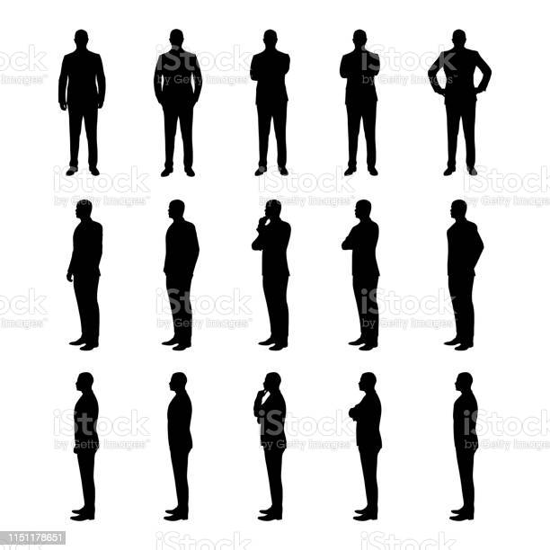 Businessman Set Of Vector Silhouettes Man In Suit In Various Poses From Three Different Angles - Arte vetorial de stock e mais imagens de Adulto