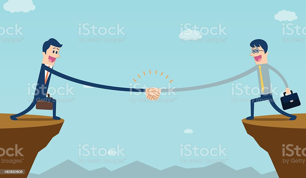 Businessman shake hand on cliff vector art illustration