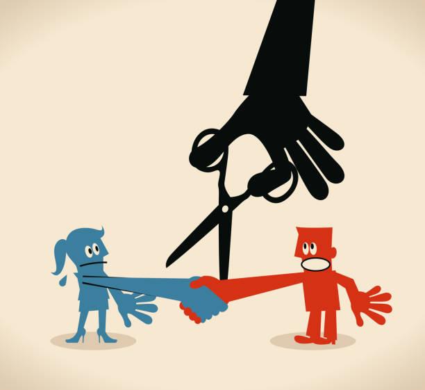 geschäftsmann schütteln hand mit geschäftsfrau, große schwarze hand schneiden die verbindung von schere (das vertrauen zu brechen) - vertrauensbruch stock-grafiken, -clipart, -cartoons und -symbole