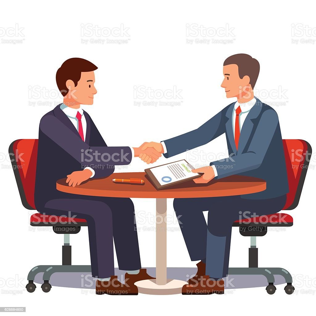 Businessman shaking hands on a signed contract vector art illustration