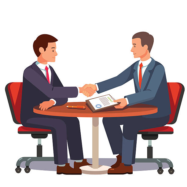 businessman shaking hands on a signed contract - lawyer stock illustrations, clip art, cartoons, & icons