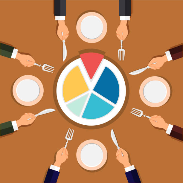 illustrazioni stock, clip art, cartoni animati e icone di tendenza di businessman shareholder team participate in profits by dividing diagram pie at business lunch - galateo a tavola