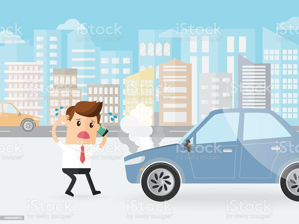 businessman shocked car broke down calling by cell phone vector art illustration