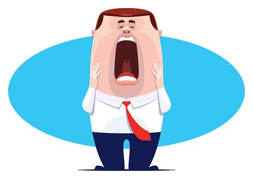 businessman shocking and screaming