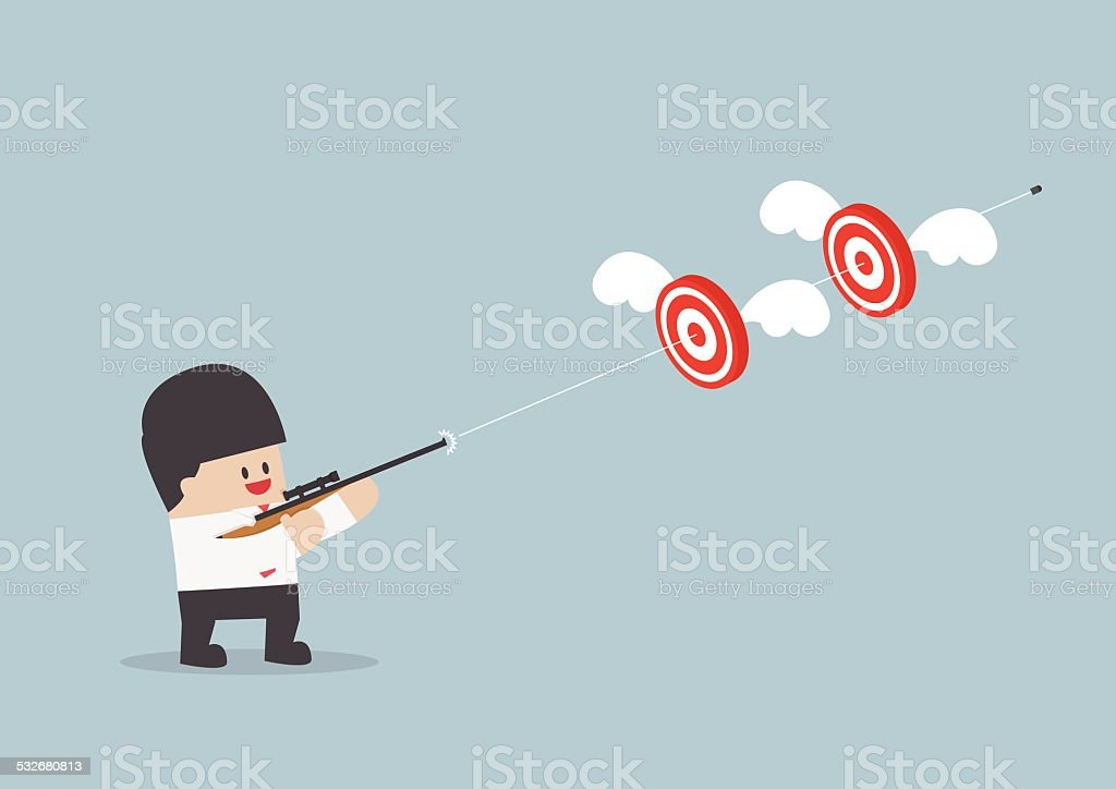 Businessman shoot two targets with one bullet