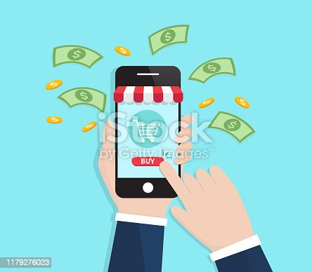Businessman Shopping Online With Smartphone. E-commerce concept. Vector illustration