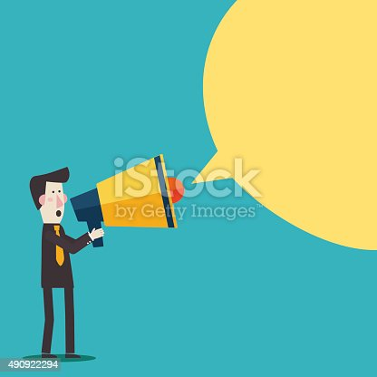 istock Businessman shouting in megaphone. Man announcing through loudspeaker advertising 490922294