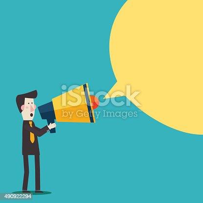 690508154 istock photo Businessman shouting in megaphone. Man announcing through loudspeaker advertising 490922294