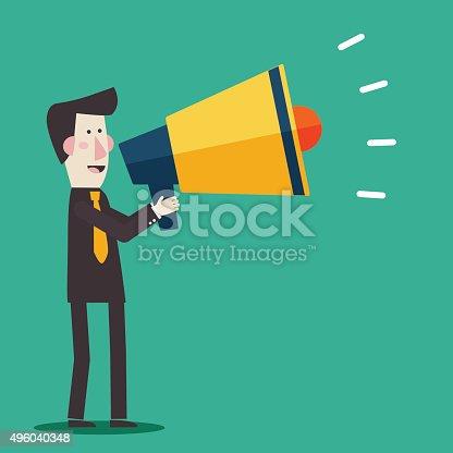 690508154 istock photo Businessman shouting in megaphone Man announcing through loudspeaker advertising 496040348
