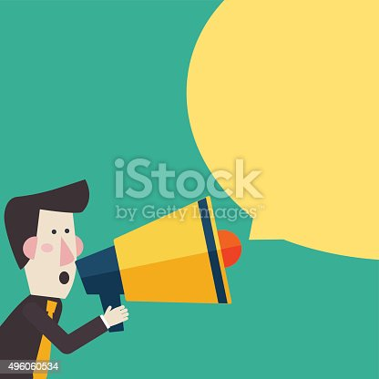 istock Businessman shouting in megaphone Man announcing through loudspeaker advertising 496060534