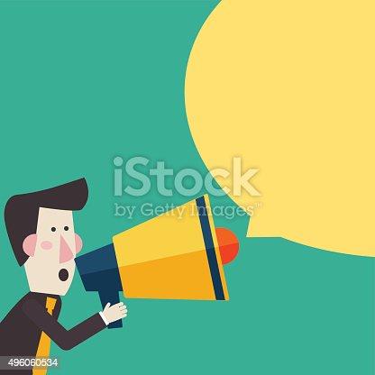 690508154 istock photo Businessman shouting in megaphone Man announcing through loudspeaker advertising 496060534
