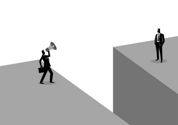businessman shouting to another businessman with megaphone - communication problems stock illustrations, clip art, cartoons, & icons
