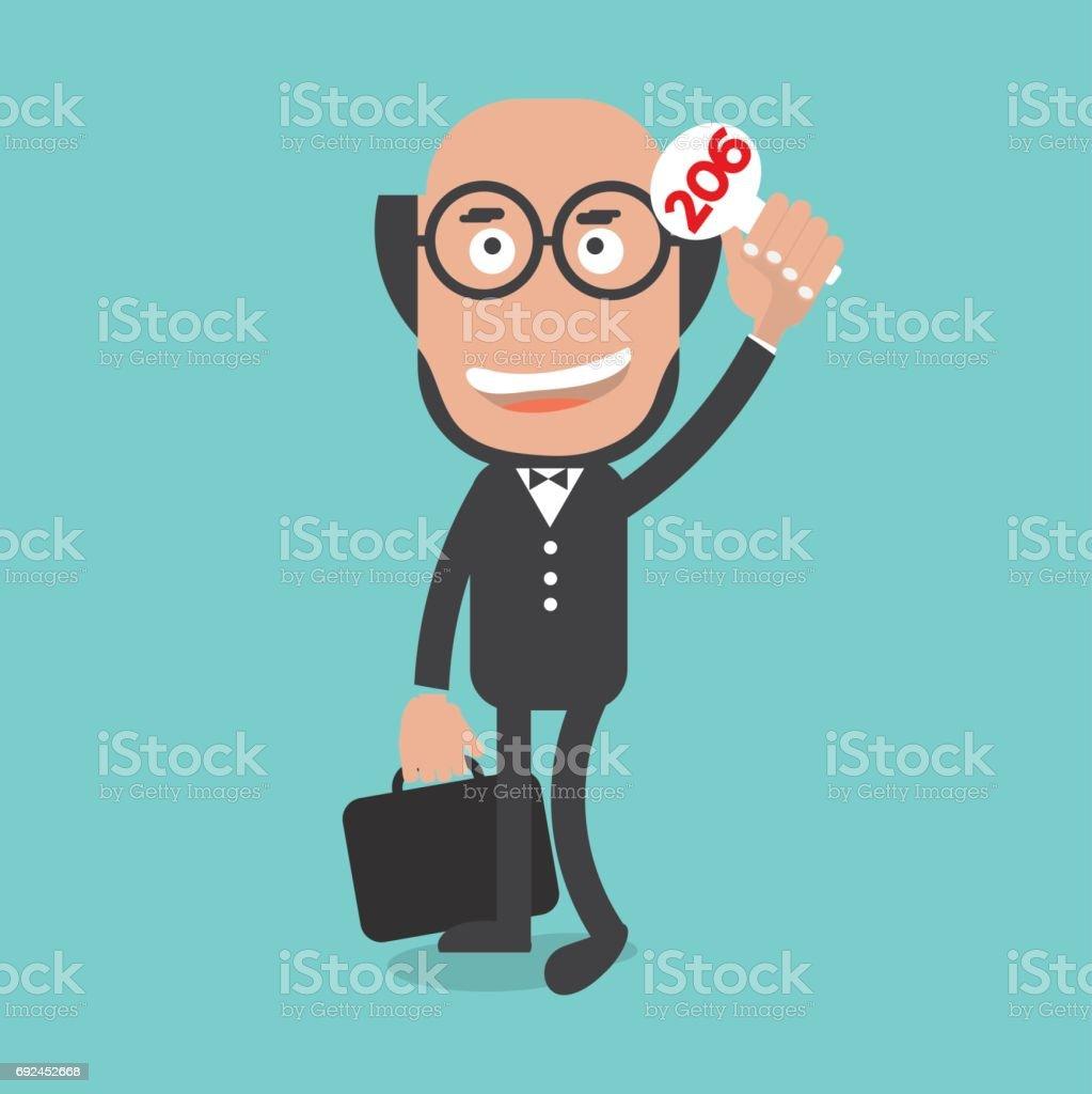Businessman Show Bidding Price Vector Illustration vector art illustration