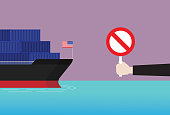 Stop sign, Trade war, Sanctions, Agreement, Conflict, Container ship, Customs