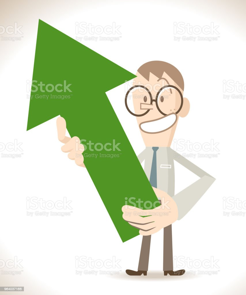 Businessman (student) showing (holding) a green upward arrow - Royalty-free A Helping Hand stock vector