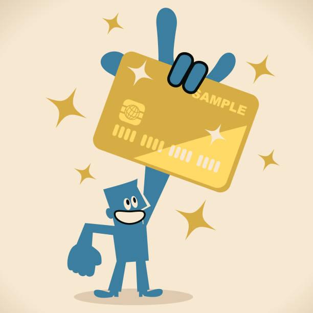 Businessman showing a huge credit card by rock hand sign vector art illustration