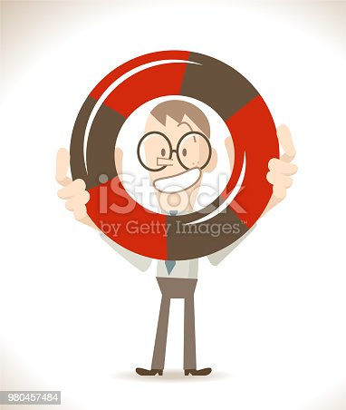 Business Man Characters with Glasses Manga Style Cartoon Vector art illustration.Copy Space, Full Length, White Background. Businessman (student, teacher ) showing (holding) a lifebuoy.