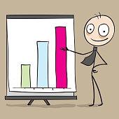 Businessman showing chart in presentation