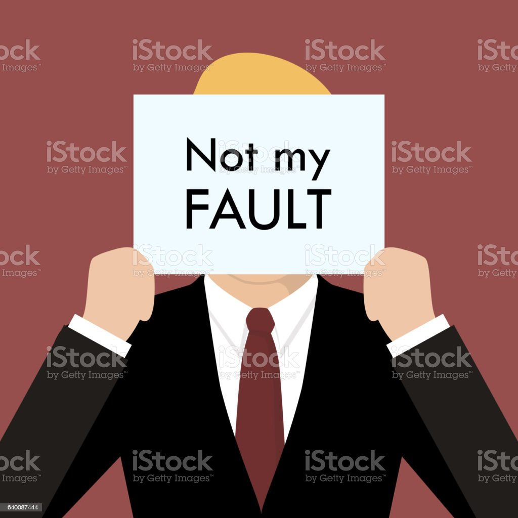 Businessman showing sign not my fault failed vector art illustration