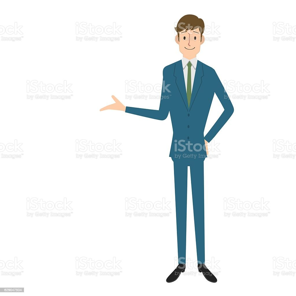 Businessman showing vector art illustration
