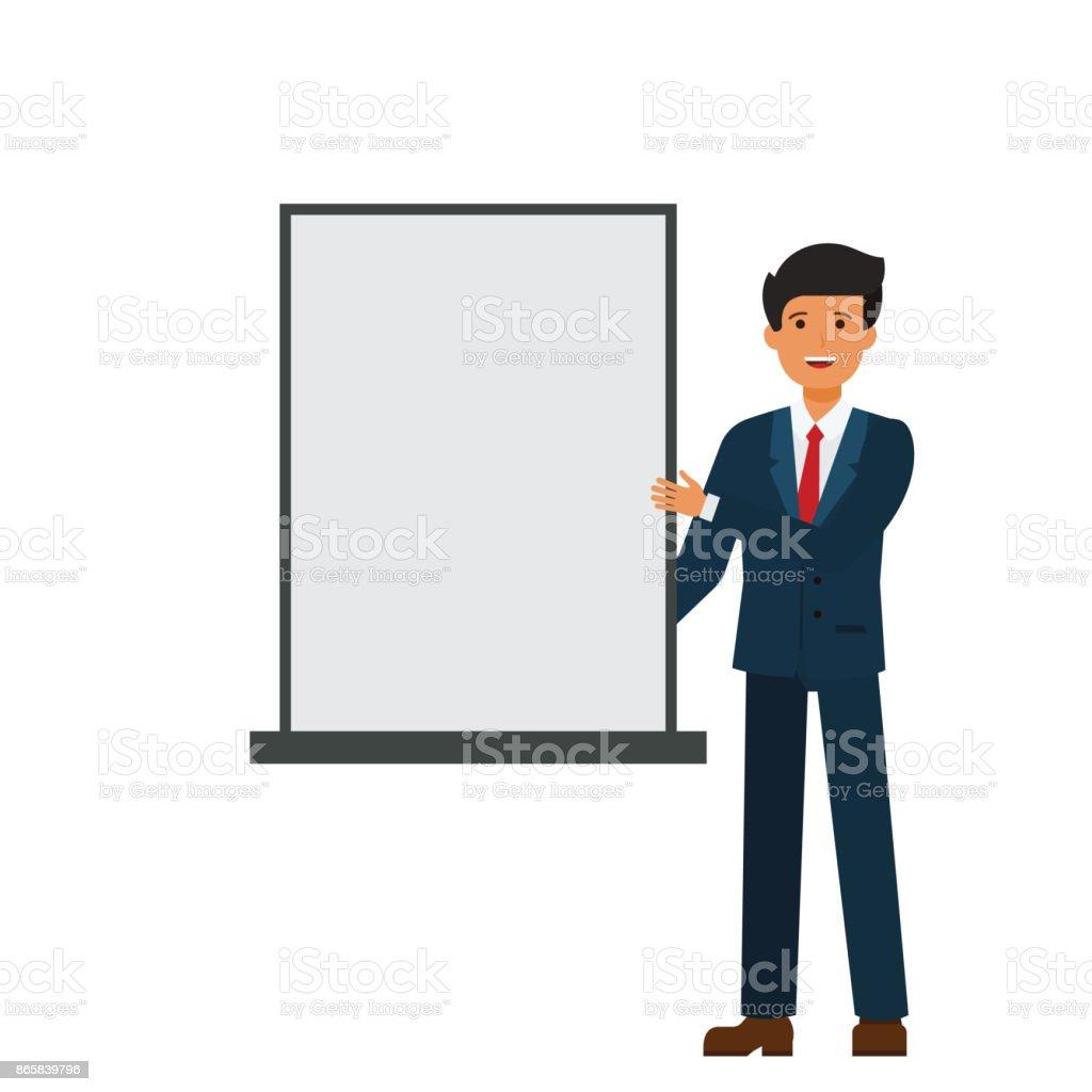Ilustración de Empresario Mostrando Presentación Blanco