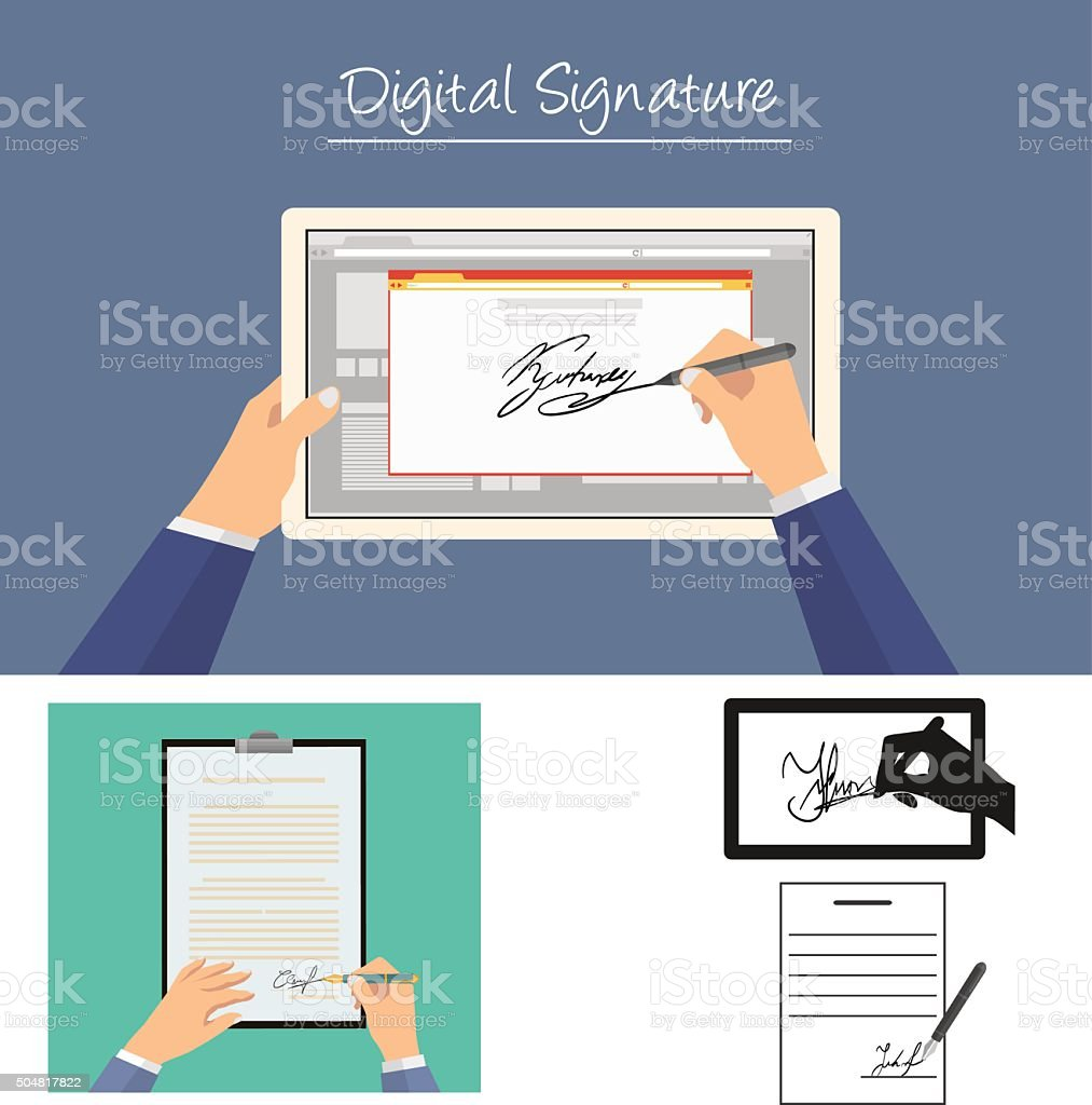 Businessman sign documents vector art illustration