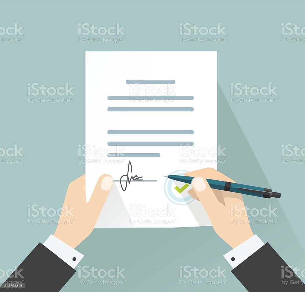 Businessman signing document vector, hands holding contract signed legal agreement vector art illustration