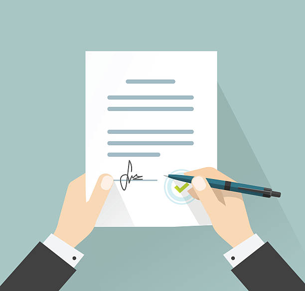 bildbanksillustrationer, clip art samt tecknat material och ikoner med businessman signing document vector, hands holding contract signed legal agreement - pen paper sign