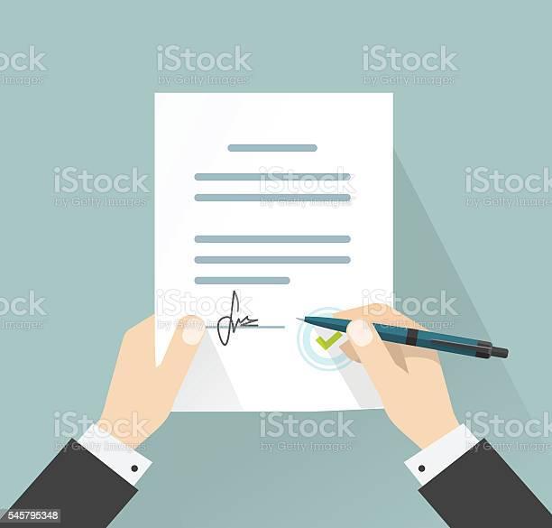Businessman Signing Document Vector Hands Holding Contract Signed Legal Agreement Stockvectorkunst en meer beelden van Aanvraagformulier