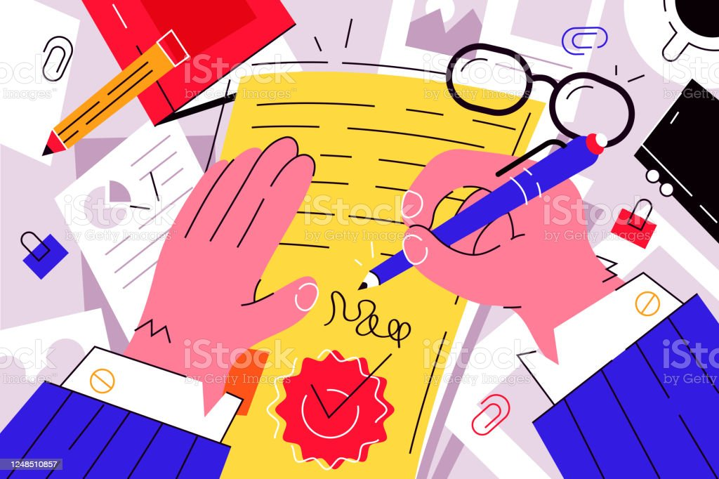 Businessman signing documents Businessman signing documents vector illustration. Boss signature on important papers flat style design. Paperwork. Business and conclusion of contract concept Adult stock vector